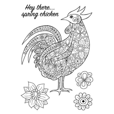 Woodware Clear Stamps - Decorative Cockerel