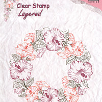 Nellie's Choice - Clear Stamp Layered - Flower Wreath 1 Hybiscus