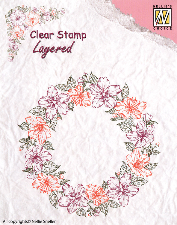 Nellie's Choice - Clear Stamp Layered - Flower Wreath 2