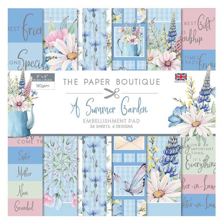 The Paper Boutique Summer Garden 8x8 Embellishments Pad