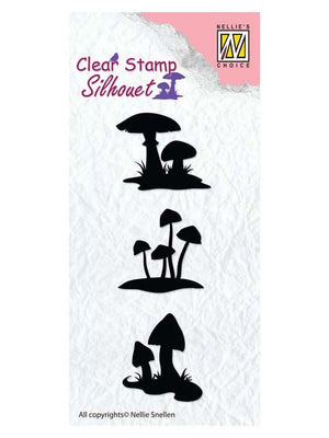 Nellie's Choice - Clear Stamp Silhouette Mushrooms