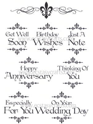 Creative Expressions - Clear Stamps - Baroque Sentiments 2