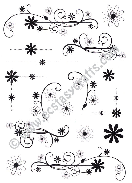 Creative Expressions - Clear Stamps - Dainty Daisies Flourishes & Corners