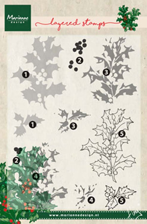 Marianne Design Layering Stamps Tiny's Holly