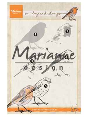 Marianne Design Stamps Tiny's Layered Red Robin