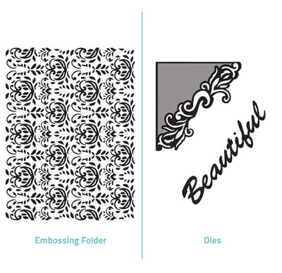 Embossing Folder  2 in 1 set - Beautiful - Delilah