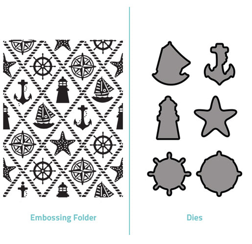Embossing Folder  2 in 1 set - Ships Ahoy
