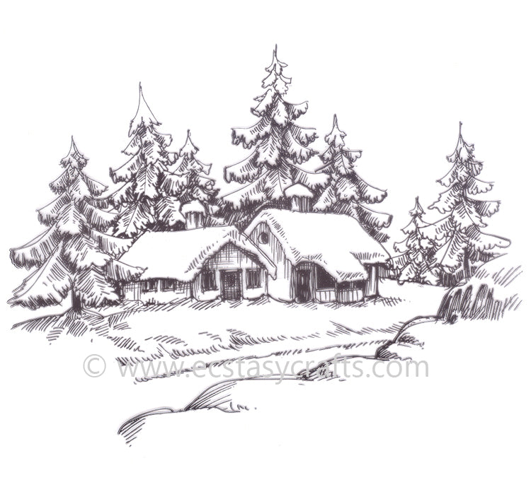 Clear Stamp - Winter Time - Wintery House