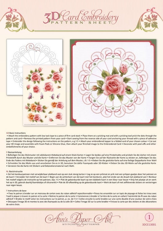 Ann Paper Embroidery Pattern - Rose Glow