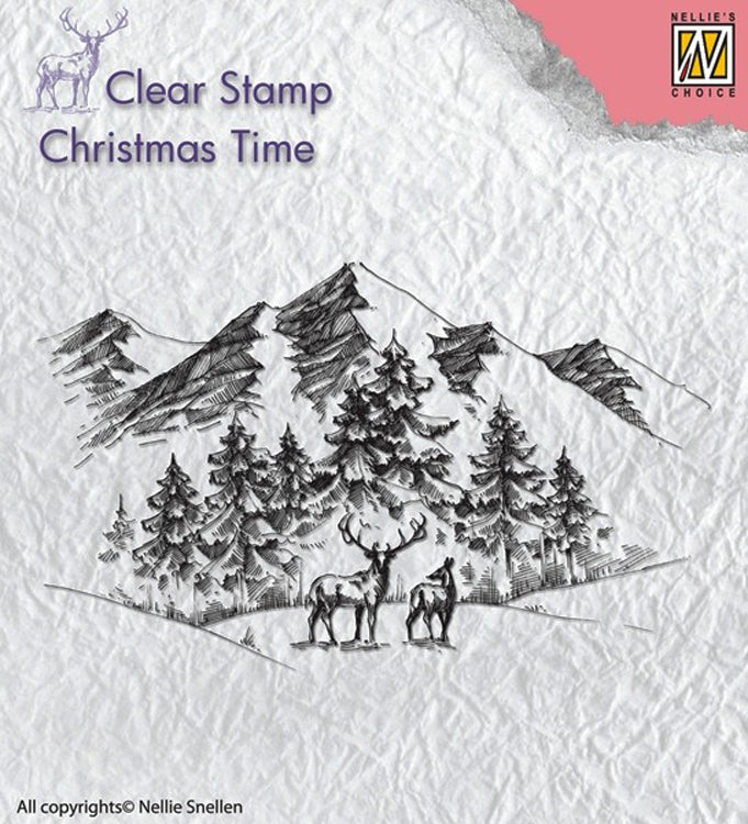 Nellie's Choice Stamp - Winter Landscape with Deer