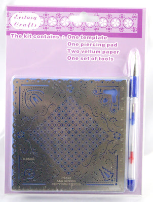 Parchment Craft Perforating Kit Elegant corners and checkered pattern