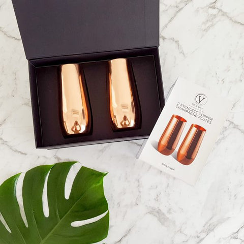 Stemless Copper Champagne Flutes