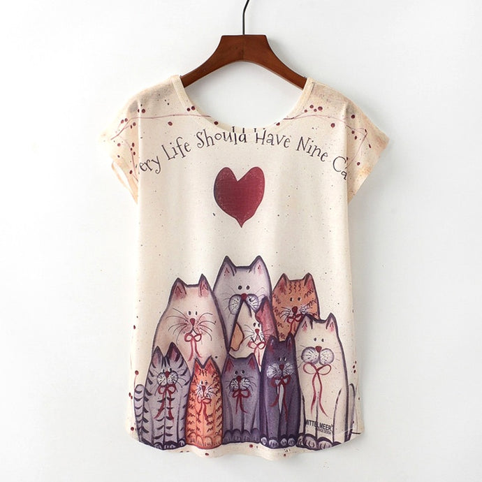 Cute Style Nice Cat Print T-shirt-BluRose - Mommy & Daughter