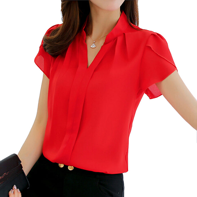 Short Sleeve Elegant Ladies Formal Office Blouse-BluRose - Mommy & Daughter