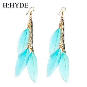Feather Style Long Tassel Earrings