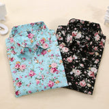Vintage Floral Blouse Long Sleeve Shirt-BluRose - Mommy & Daughter