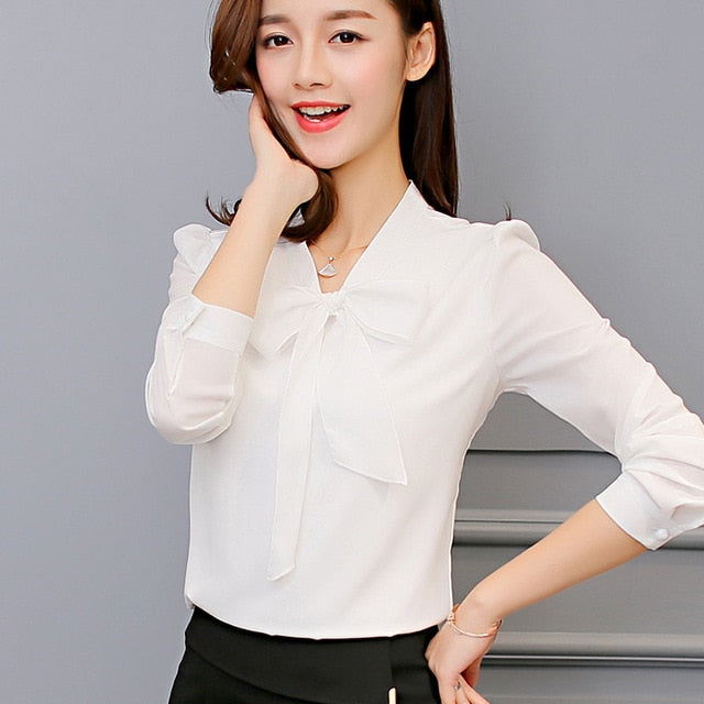 Leisure Chiffon Shirt Bow Office Ladies Pink White-BluRose - Mommy & Daughter