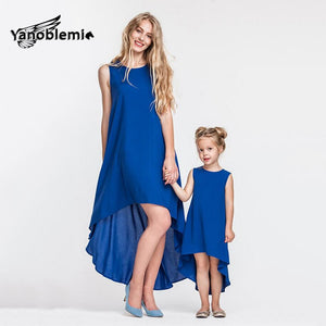 Matching Blue Mother Daughter Irregular Dresses
