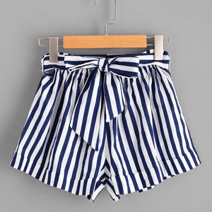 Blue & White Striped Shorts Tie Waist