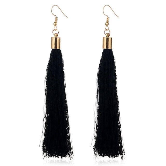 Long Tassel Drop Earring