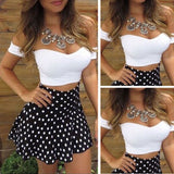 Women's Off Shoulder Bodycon Short Crop Top & Dot Mini Skirt Set