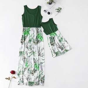 Matching Mother-Daughter High Waist Sleeveless Dresses