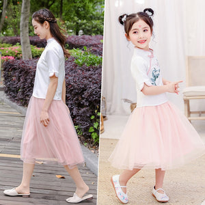 Traditional Hanfu Embroidery Shirt+Tutu Skirt-BluRose - Mommy & Daughter