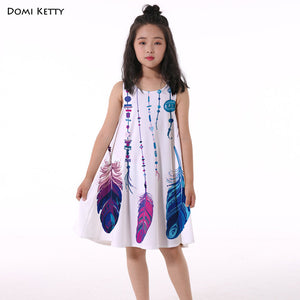 Chain Feather Print Dress