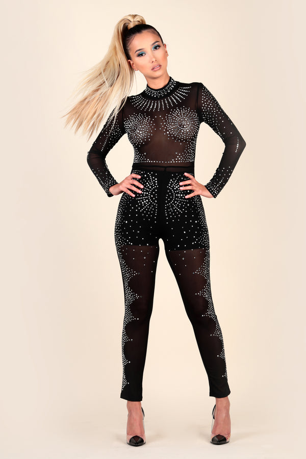 Lustruck Sheer mesh see-through black silver rhinestone crystal gem jumpsuit party clubbing club night