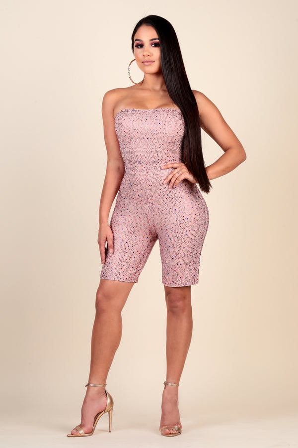 """Bling It On"" Rhinestone Soft Pink Biker Short Romper"