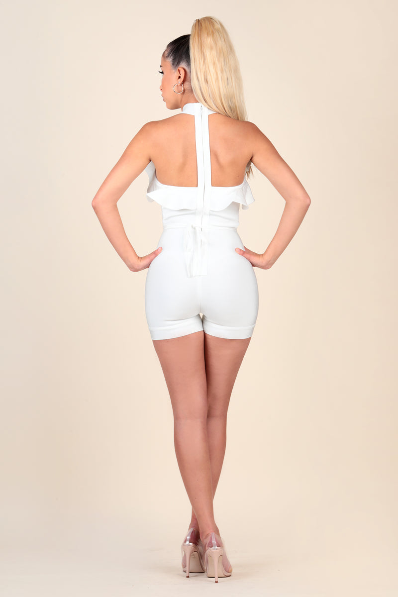 lustruck lace up ruffle halter white romper day brunch party
