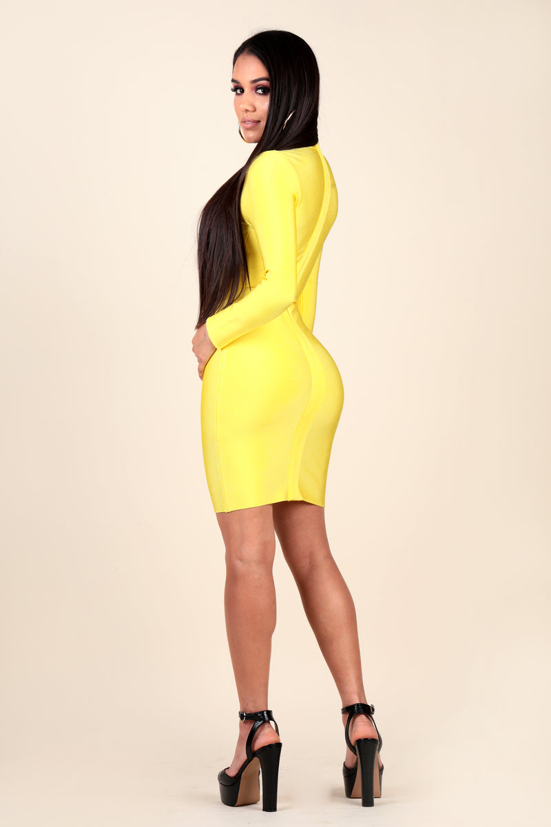 neon yellow dress, stretch bandage, long sleeve, club, girls night out, dinner date, event, party dress