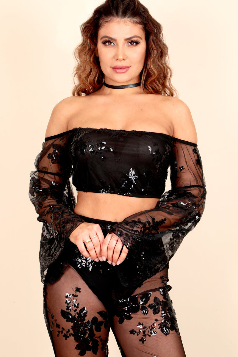 sheer mesh see-through black sequin floral embroidery bell sleeve flar pant two-piece outfit fit party dinner club nightout event