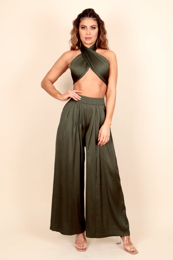 satin wrap crop top wide leg pant two piece set outfit vacation dinner date day party night out club bar wedding