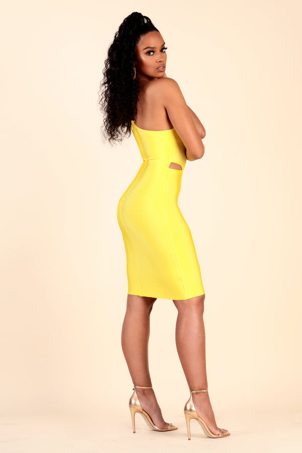 lustruck cut outs one shoulder mid length short bandage bodycon dress party dinner club clubbing brunch