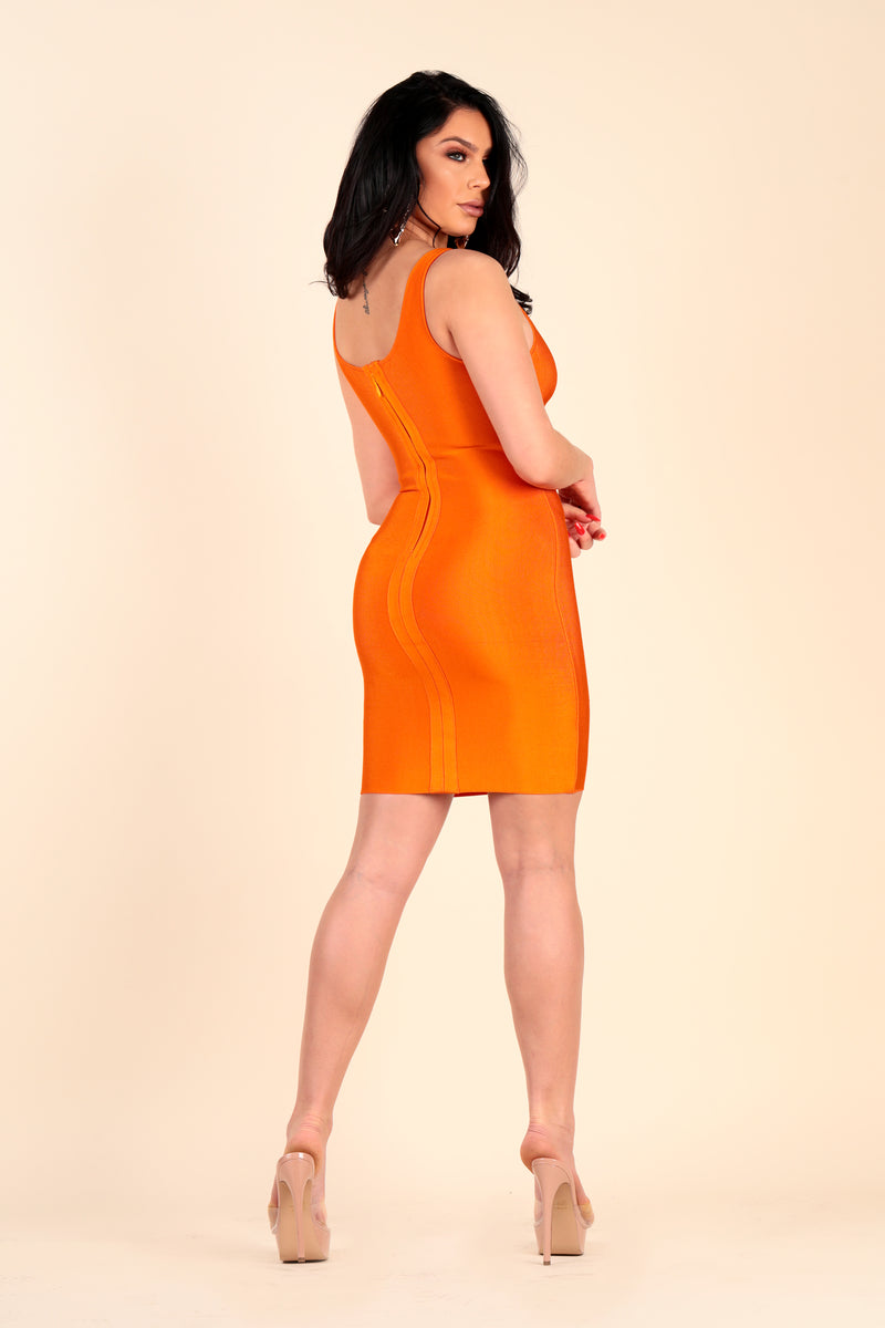 Lustruck summer orange bodycon bandage stretch gold clasps dress night day clubbing club party dinner dress short