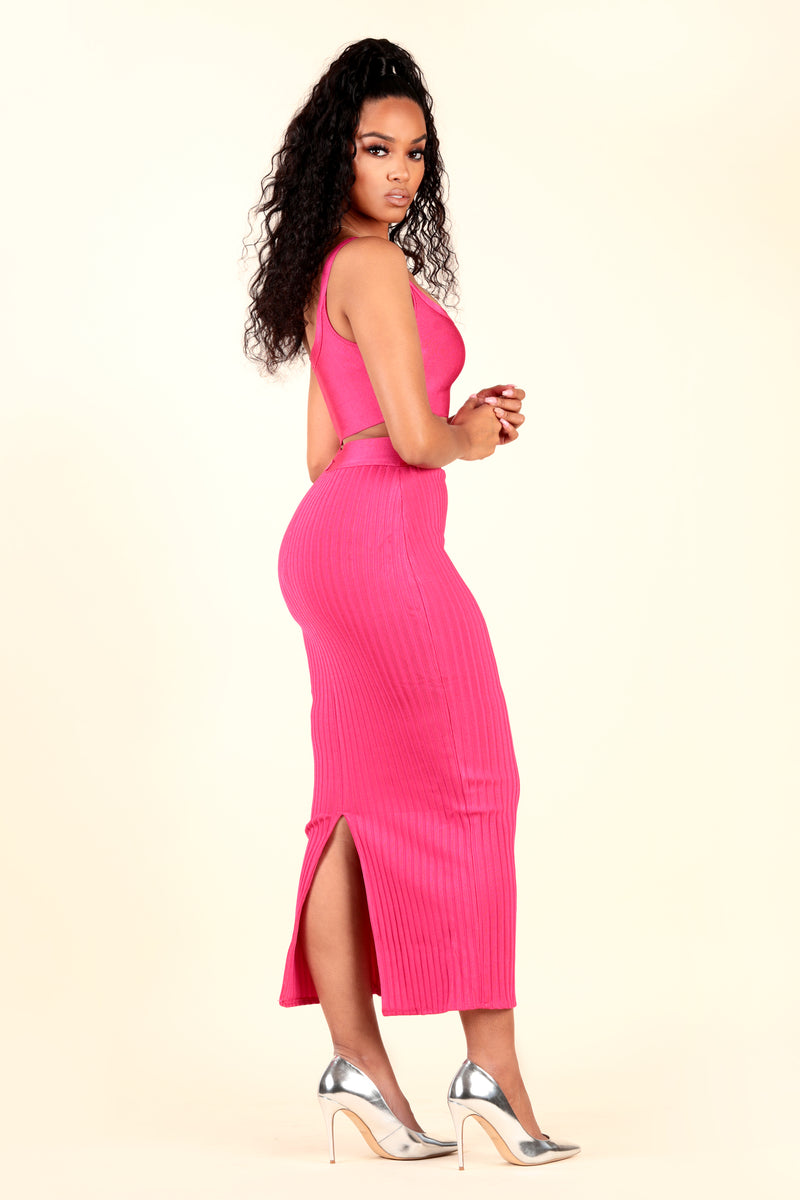 lustruck two piece crop top stretch bandage rib maxi skirt magenta pink dinner club night out