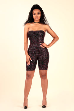 lustruck rhinestone biker short romper black night club clubbing party