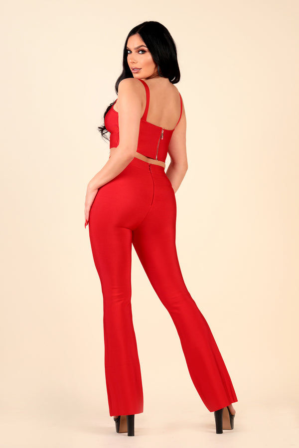 Lustruck bandage teo piece red stretch flare pant crop top outfit dinner club clubbing night