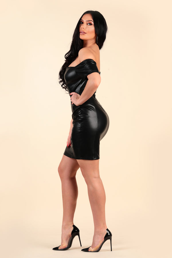 lustruck vegan leather pleather off the shoulder plunge sweetheart neckline short dress dinner party clubbing club night