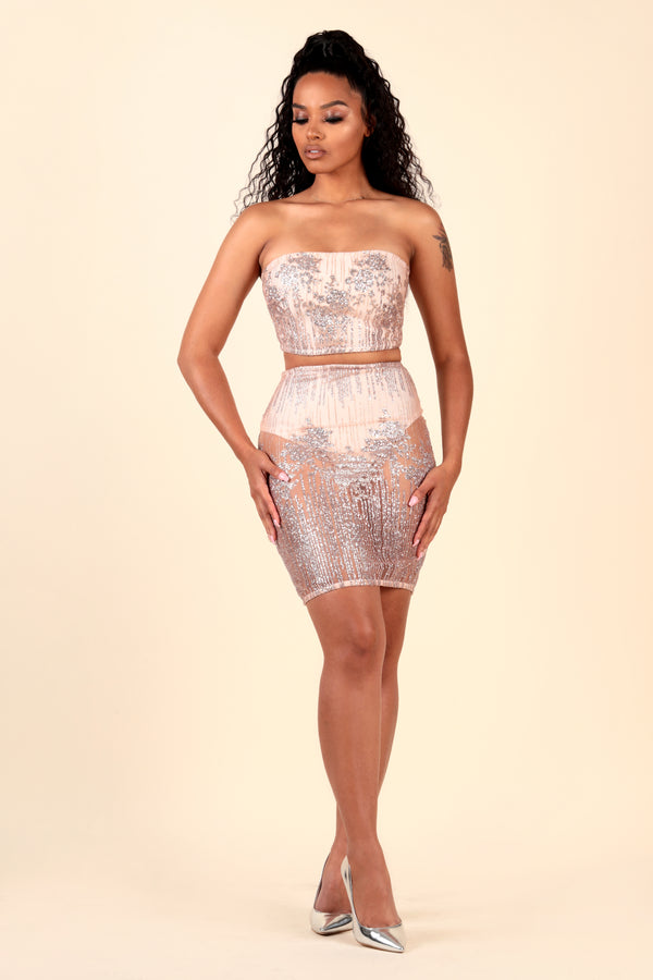 """Shimmer Glimmer"" See Through Glitter Pale Pink Two-Piece"
