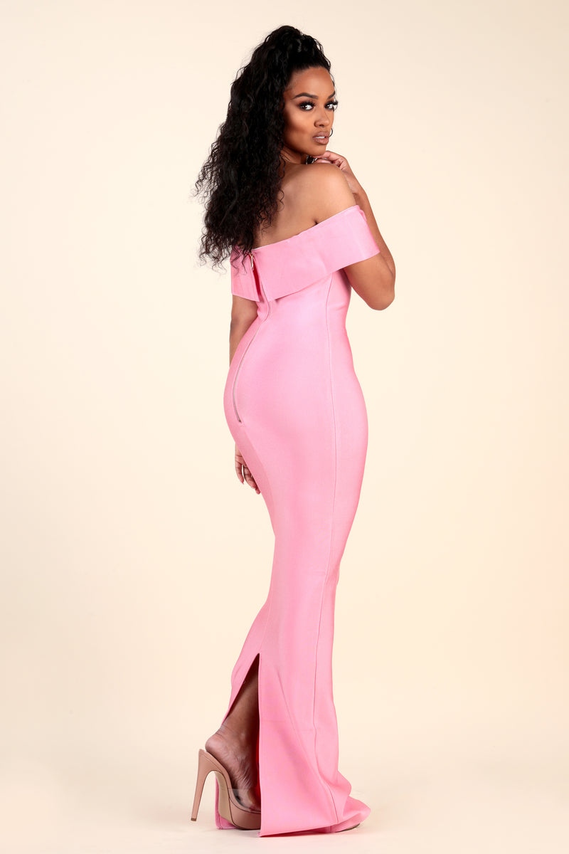 lustruck stretch bandage off the shoulder maxi pink dress dinner wedding party night