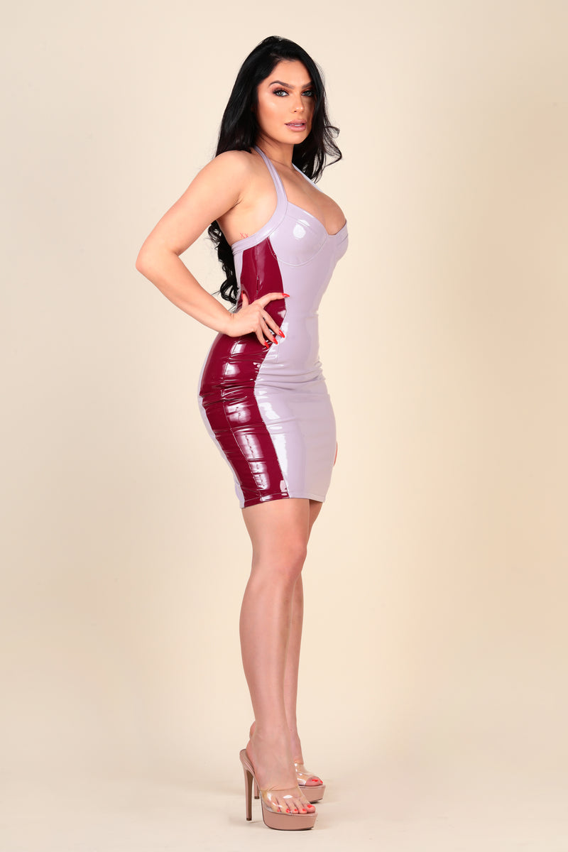 lustruck maroon lavender color block halter patent leather vegan dress dinner night club clubbing