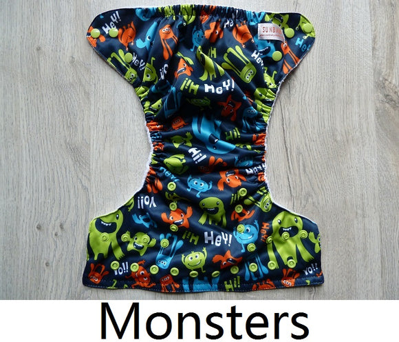 Monster - Sunbaby Size 1 Microfleece Pocket Diaper+ Insert