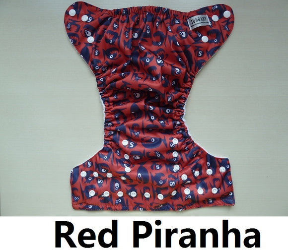 Red Piranha - Sunbaby Size 1 Microfleece Pocket Diaper+ Insert