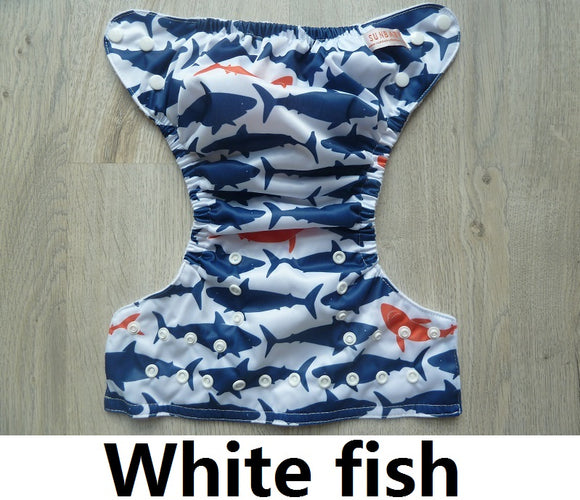 White Fish - Sunbaby Size 1 Microfleece Pocket Diaper+ Insert