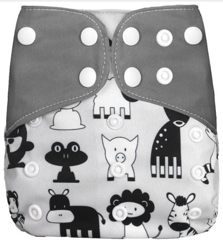 Black N White Animals - Microsuede Pocket Diaper