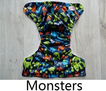 Monster - Sunbaby Size-2 Microfleece Pocket Diaper+ Insert