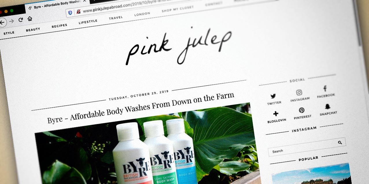 Pink Julep blog featuring Byre Body Washes