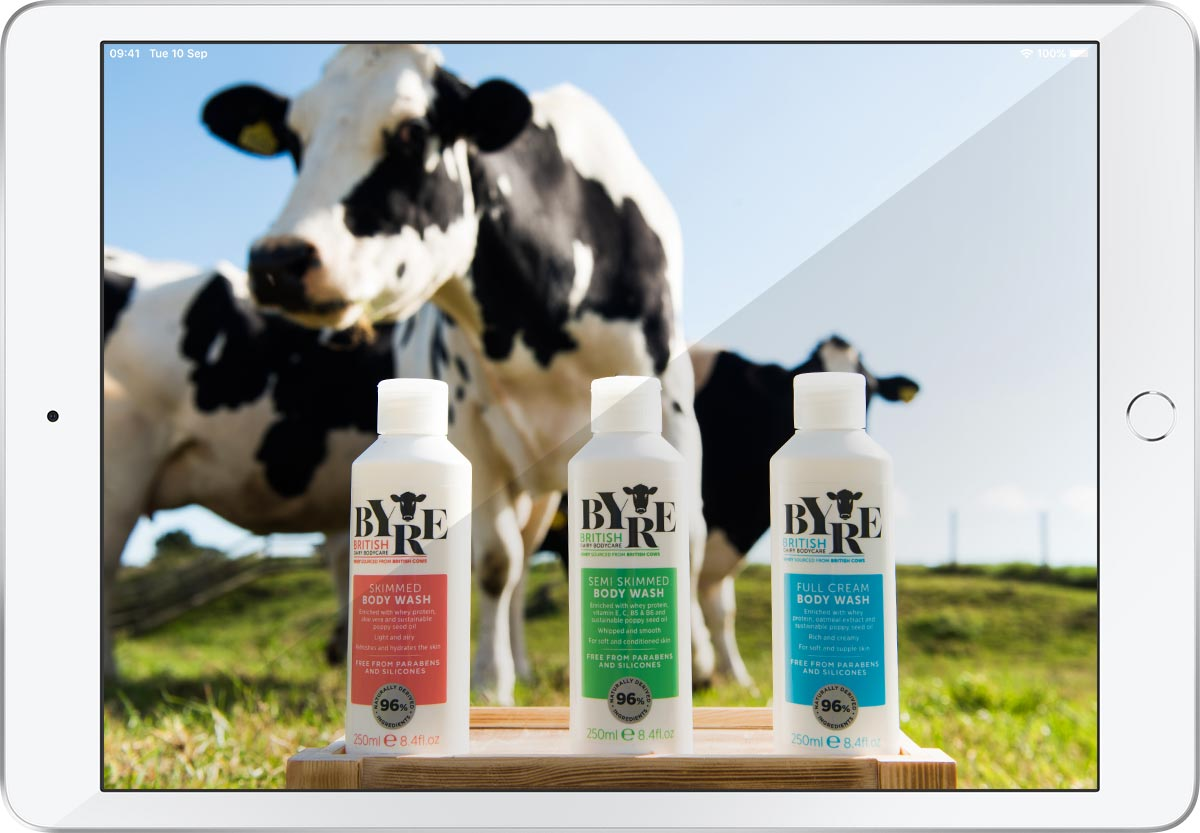 Byre's new Body Wash range featuring enriching whey
